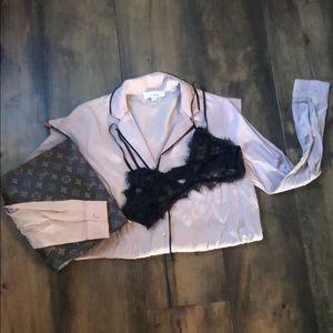Sexy Pajama Shirt Blouse by Hashttag